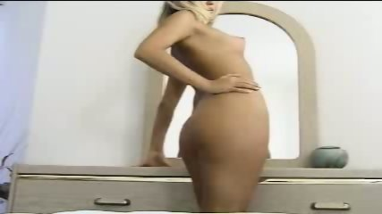 Blonde masturbates hard in her bedroom - scene 1