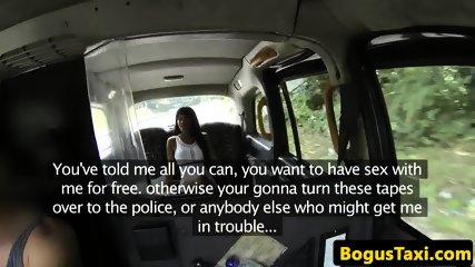 Ebony babe titfucks and rides cock at a cab