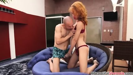 Redhead shemale blows dick and gets ass drilled hard and raw