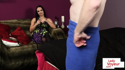 Stockinged femdom voyeur teasing her subject