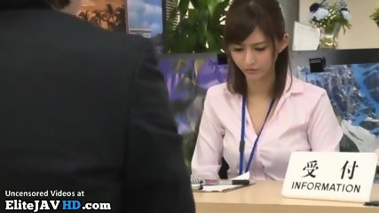 Japanese secretary pantyhose footjob to her boss