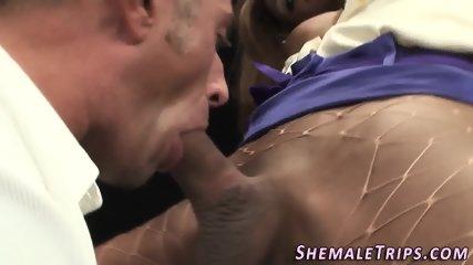 Ebony shemale jugs jizzed