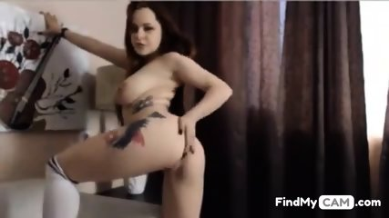 Super busty redhead babe masturbates her shaved twat on livecam