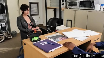 Impressive secretary is getting her fine ass ravaged by a horny black client