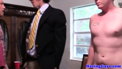 Straight studs dicksucking at dorm hazing