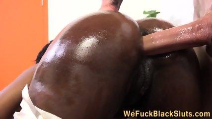 Ass fucked black skank
