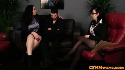 Stockinged british femdoms jerk and titfuck