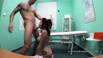 Tattooed brunette banged by doctor