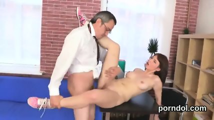 Natural schoolgirl is tempted and plowed by her older mentor