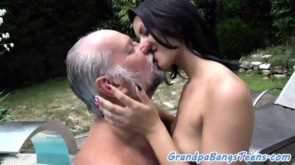 Sweet eurobabe jizzed on pussy by grandpa