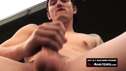 Naughty twink Lucas Daniels wanks his rock solid cock