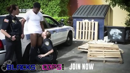 Huge titted officers blowing dick outdoors