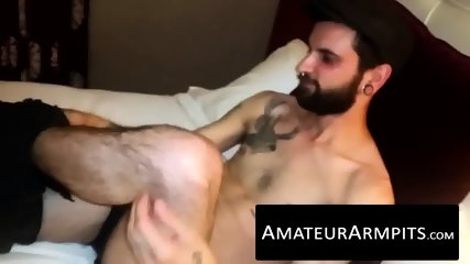 Big dicked hairy dude loves jerking off his rock hard prick