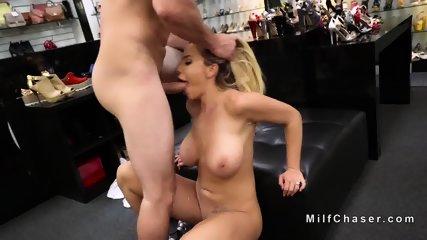 Huge boobs Milf bangs in shoes shop