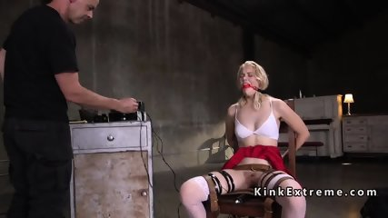 Gagged blonde electro shocked in chair