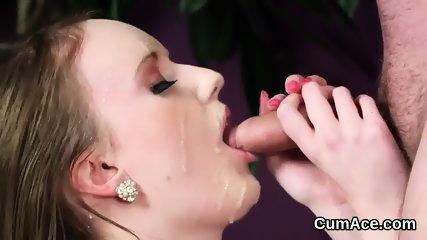 Wacky idol gets jizz load on her face swallowing all the sperm