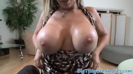 Slutty milf titfucking and cocksucking in pov
