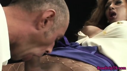 Glamcore transsexual assfucked and creamed