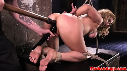 Blonde bdsm sub toyed in pussy while hogtied - scene 7