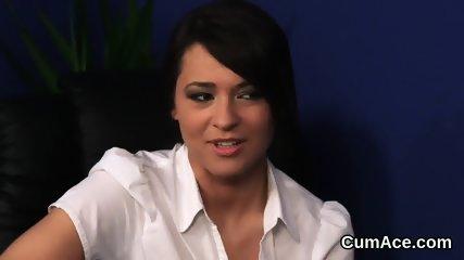 Nasty sex kitten gets jizz load on her face gulping all the cum