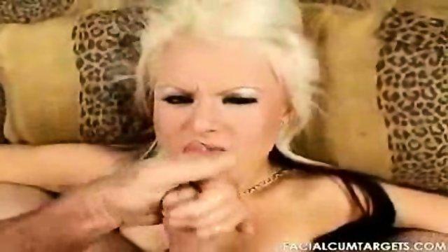Barbi is a hot facial cumshot target