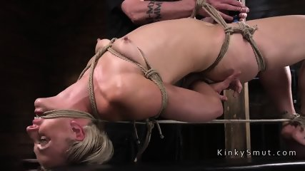 Gagged small tits blonde rough toyed