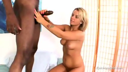 Blonde Cutie Strokes Big Black Cock