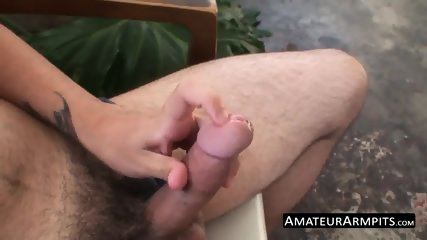 Bushy dude grabs his boner and jerks off like never before