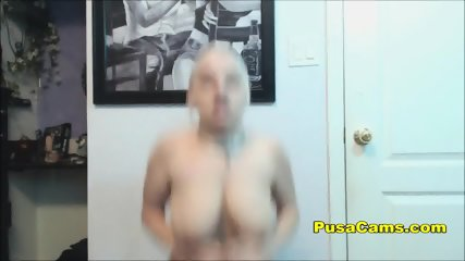 Busty Midget Gamer Fucking Gym Ball With Dildo on It