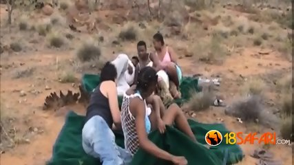 African hotties got mashed just right outdoors
