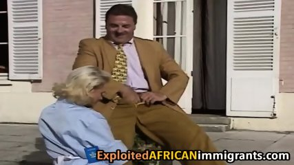 Vintage European interracial threesome porn