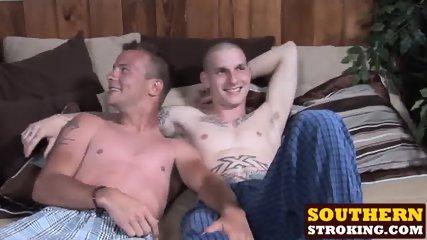 Raunchy homos Bryson and Austin jack off their cocks