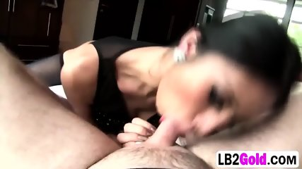 Busty tranny gives head and gets asshole banged
