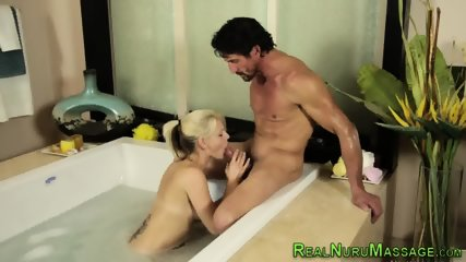 Masseuse fucked in bath