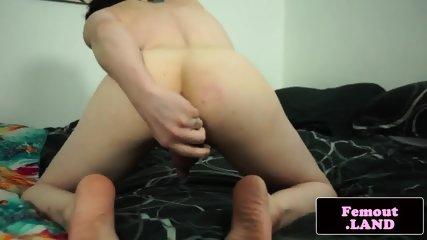 Shorthaired femboy enjoys anal plug