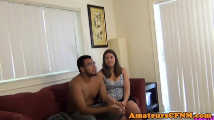 Chubby british amateur jerking dick in CFNM
