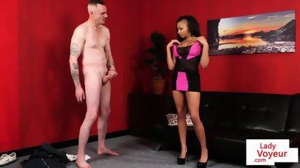 Dominant ebony instructs sub guy to strip