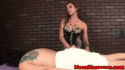 Tattooed masseuse humiliating her client