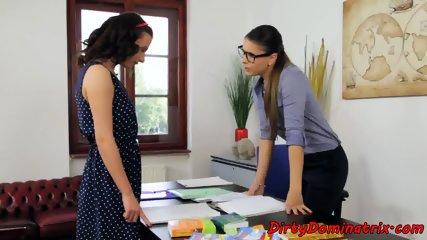 Lezdom principle dildoed by sub schoolgirl