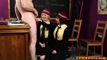 Dominant schoolgirls teasing naked teacher