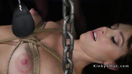 Lesbian slave anal fucked in bdsm shop