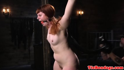 Restrained ginger beauty pussytoyed in BDSM
