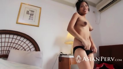 Slender asian cutie handling hard rod with care
