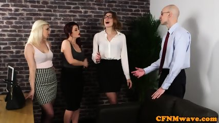 Classy babes humiliating submissive guy