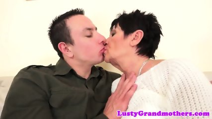 Euro granny rides her lovers hard dick