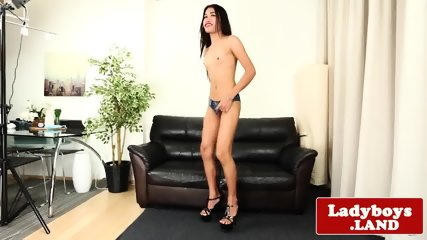Solo ladyboy wanks and shows her gaping ass