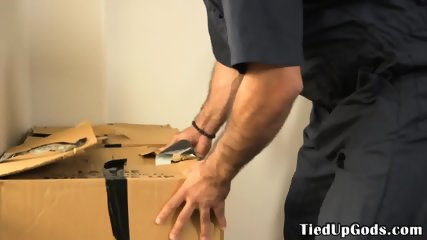 Tiedup sub deepthroating dominants hard cock