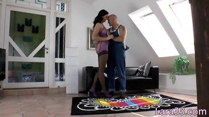 Classy UK milf in stockings rammed in pussy