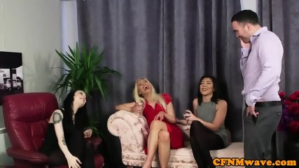 Glamour femdom deepthroats cfnm sub in group - scene 1