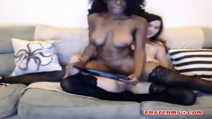 Ebony and asian slut shows off their cunts on webcam and teasing